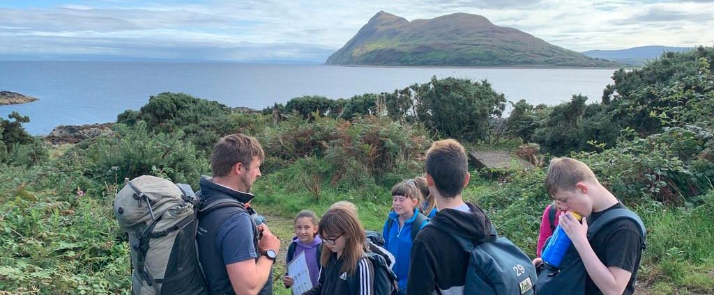A group of students and an instructor on Arran
